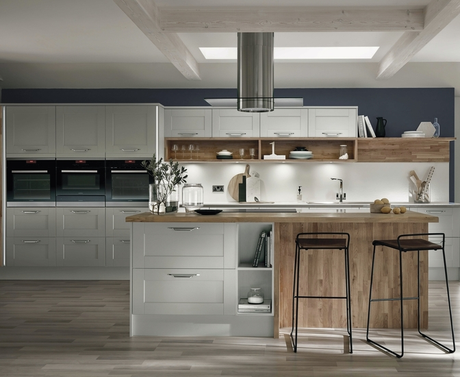 Fairford dove grey kitchen shaker kitchens howdens joinery for Grey kitchen wall units