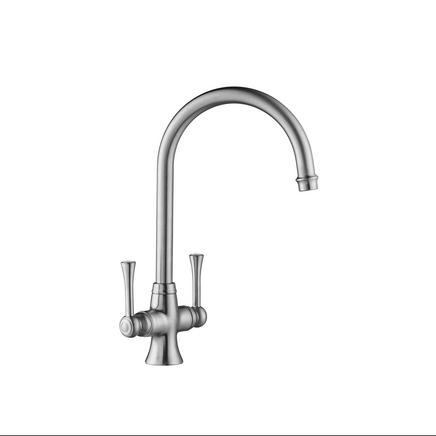Lamona Brushed Steel Effect Adra swan neck monobloc tap