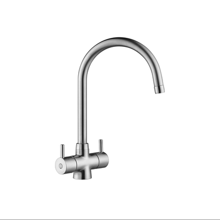 Lamona Brushed Steel Effect Rienza swan neck monobloc tap