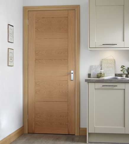 Pre-finished Linear Oak door