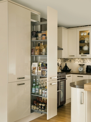 Glendevon gloss ivory kitchen universal kitchens for White gloss tall kitchen units