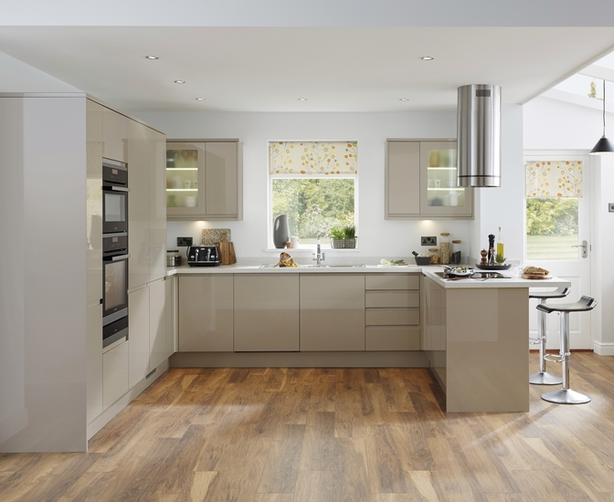 Bayswater gloss stone kitchen contemporary kitchens howdens joinery Howdens kitchen design reviews