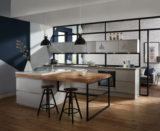 Clerkenwell Gloss Dove Grey Kitchen Contemporary Kitchens Howdens Joinery