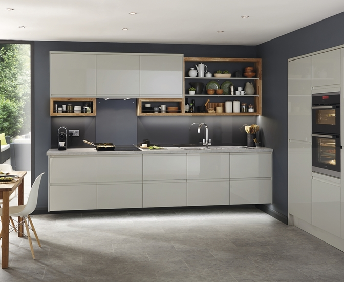 Clerkenwell gloss grey kitchen contemporary kitchens for Kitchen units grey gloss