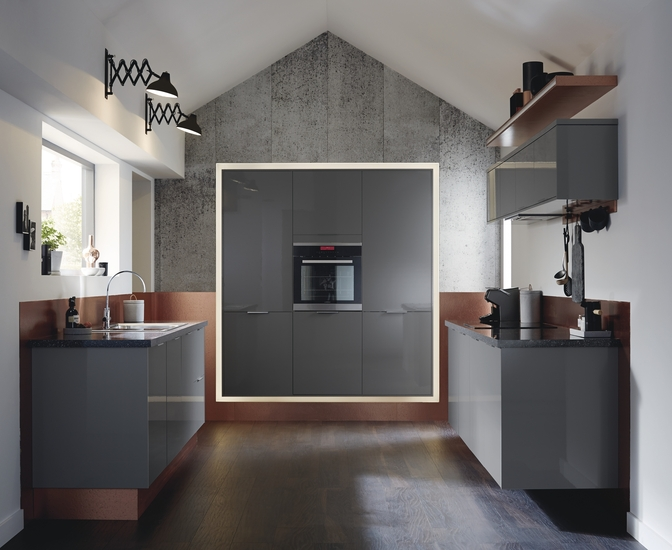 Greenwich Gloss Slate Grey Kitchen Universal Kitchens Howdens - Slate grey kitchen units