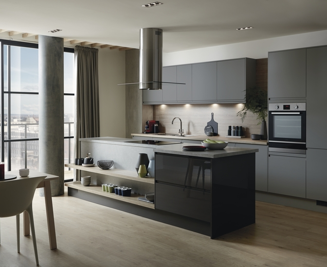 Clerkenwell Super Matt Slate Grey Kitchen Howdens Joinery - Slate gray cabinets