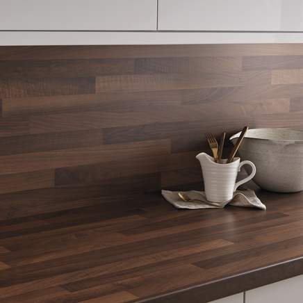 Walnut block effect backboard matching worktop backboards kitchen worktop backboards - Kitchen backboards ...