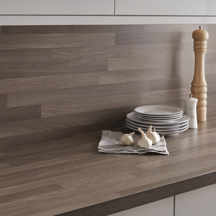Bullnose Matt Laminate Grey Oak Block Effect Worktop
