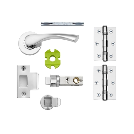 Sofia Chrome quick fit rose handle latch pack