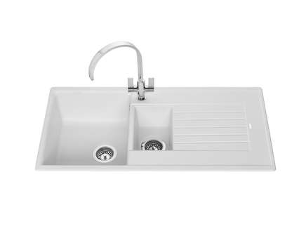 Lamona White granite composite 1.5 bowl sink | Kitchen sinks ...