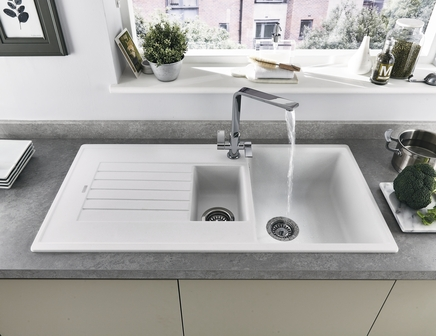 Lamona White granite composite 1.5 bowl sink