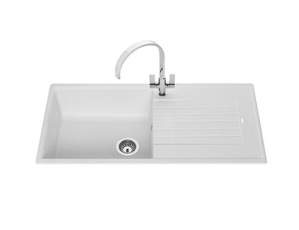 Lamona White granite composite single bowl sink