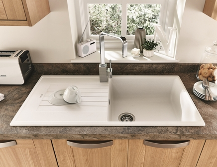 Lamona White Granite Composite Single Bowl Sink Howdens
