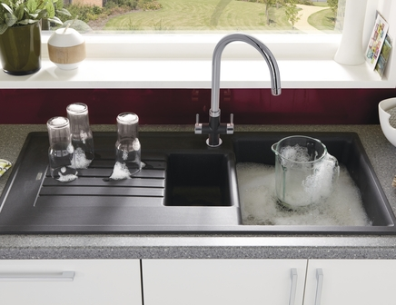 Lamona Black granite composite 1.5 bowl sink