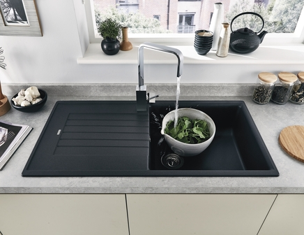 Lamona Black granite composite single bowl sink