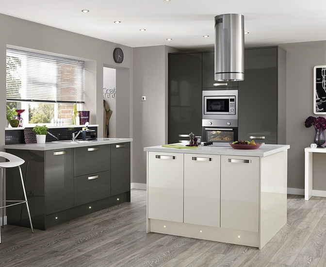 Greenwich Gloss Graphite Kitchen Universal Kitchens Howdens Joinery