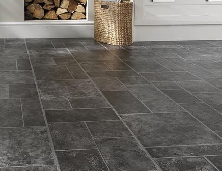 Professional random effect slate laminate tiles howdens for Tile effect laminate flooring