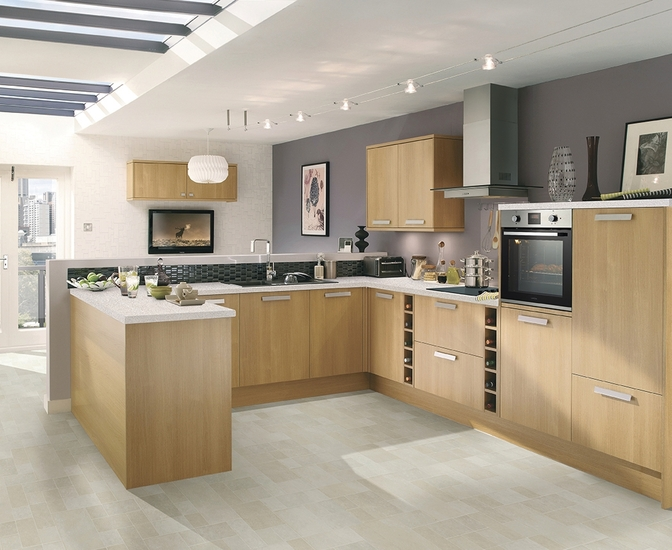 Greenwich light oak kitchen universal kitchens howdens joinery Kitchen design with light oak cabinets