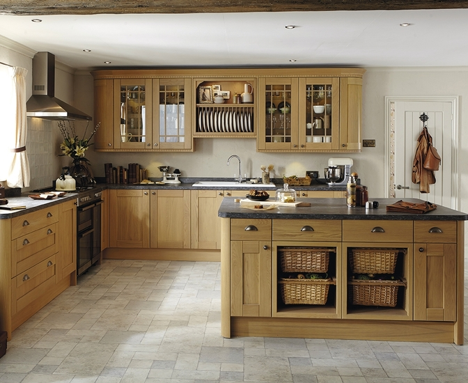 Rustic Tiles For Bathroom Tewkesbury Light Oak Kitchen | Shaker Kitchens | Howdens ...