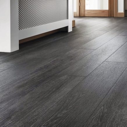 Quickstep livyn silk oak dark grey vinyl flooring for Grey bathroom laminate flooring