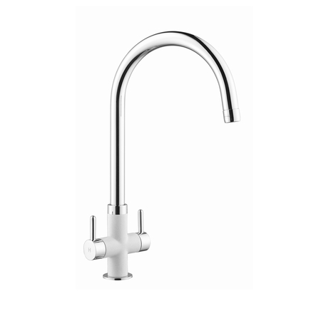 Lamona Chrome and White Calaggio swan neck monobloc tap