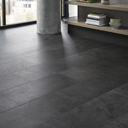 Quickstep livyn black slate vinyl tile flooring for Quickstep kitchen flooring