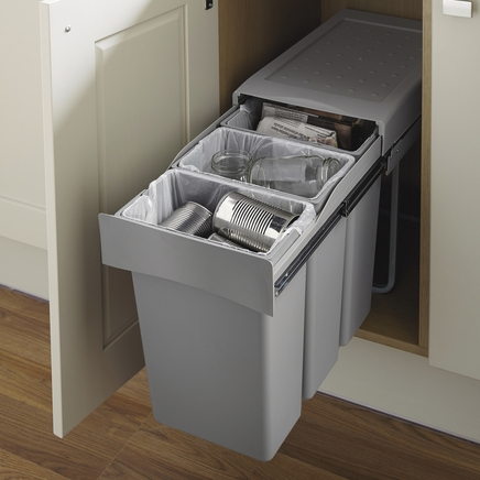 30l pull out recycling bin 3 compartments kitchen waste management howdens joinery - Ikea pull out trash bin ...