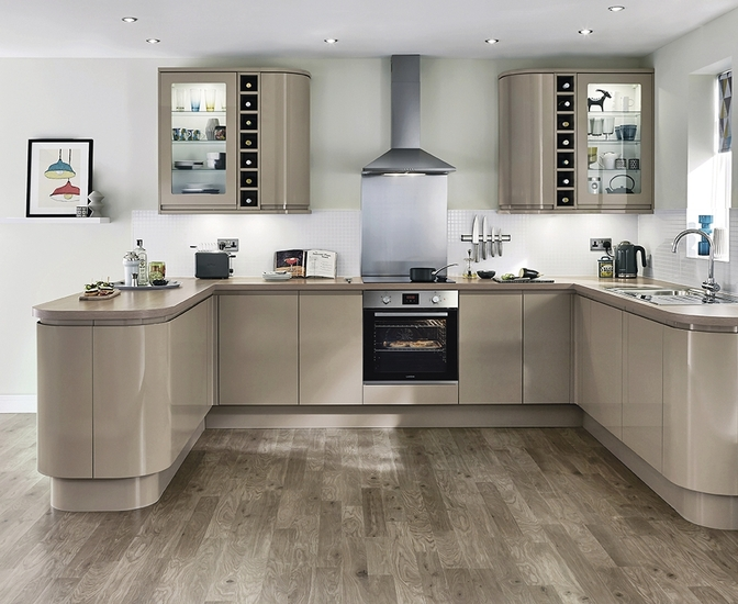 Clerkenwell Gloss Stone Kitchen Contemporary Kitchens Howdens Joinery