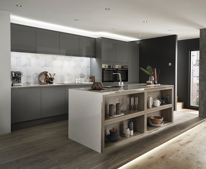 Clerkenwell Gloss Slate Grey Kitchen Contemporary Kitchens Howdens Joinery