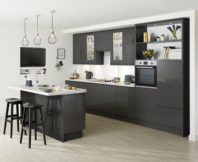 Clerkenwell Gloss Graphite Kitchen Howdens Joinery - Slate grey kitchen units