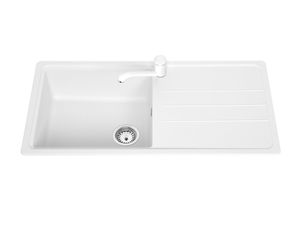 Lamona White standard composite single bowl sink