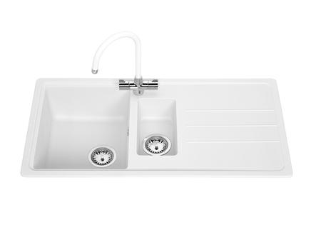 Lamona White standard composite 1.5 bowl sink