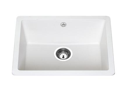 Lamona White granite composite inset/undermount single bowl sink