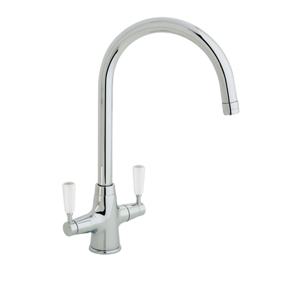 Lamona Chrome and White Victorian swan neck monobloc tap