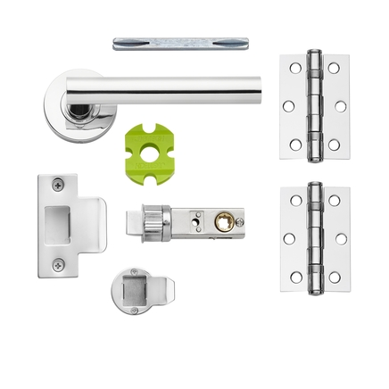 Cesano Chrome quick fit rose handle latch pack