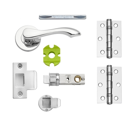 Fino Chrome quick fit rose handle latch pack