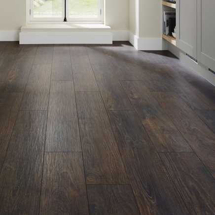Professional V Groove Dark Oak Laminate Flooring Howdens