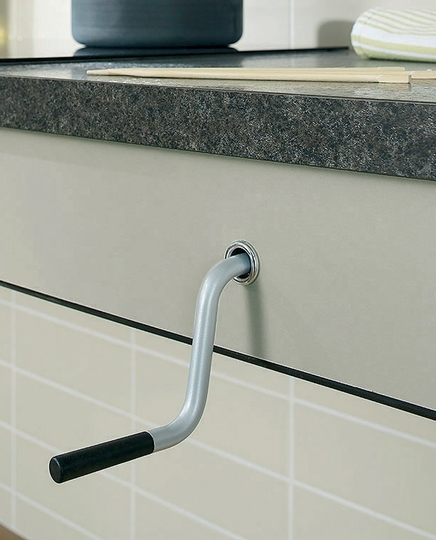 Rise and fall manual worktop system