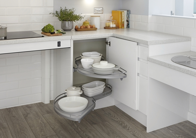 Corner storage solutions fully extend into your kitchen, providing access to awkward corner spaces.