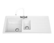 Lamona White standard composite 1.5 bowl sink