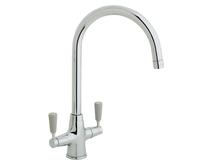 Lamona Chrome and Grey Victorian swan neck monobloc tap