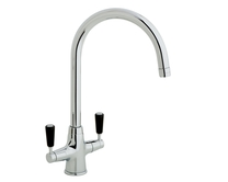Lamona Chrome and Black Victorian swan neck monobloc tap