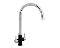 Lamona Chrome and Black Calaggio swan neck monobloc tap