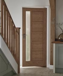 External Linear Oak Glazed door