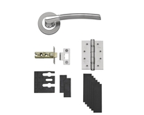 Fire Rated Newington Polished/Satin Rose Handle Latch Pack