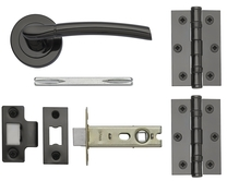 Newington Black Nickel rose handle latch pack