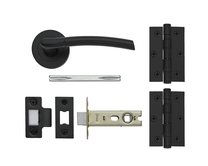 Newington Matt Black rose handle latch pack