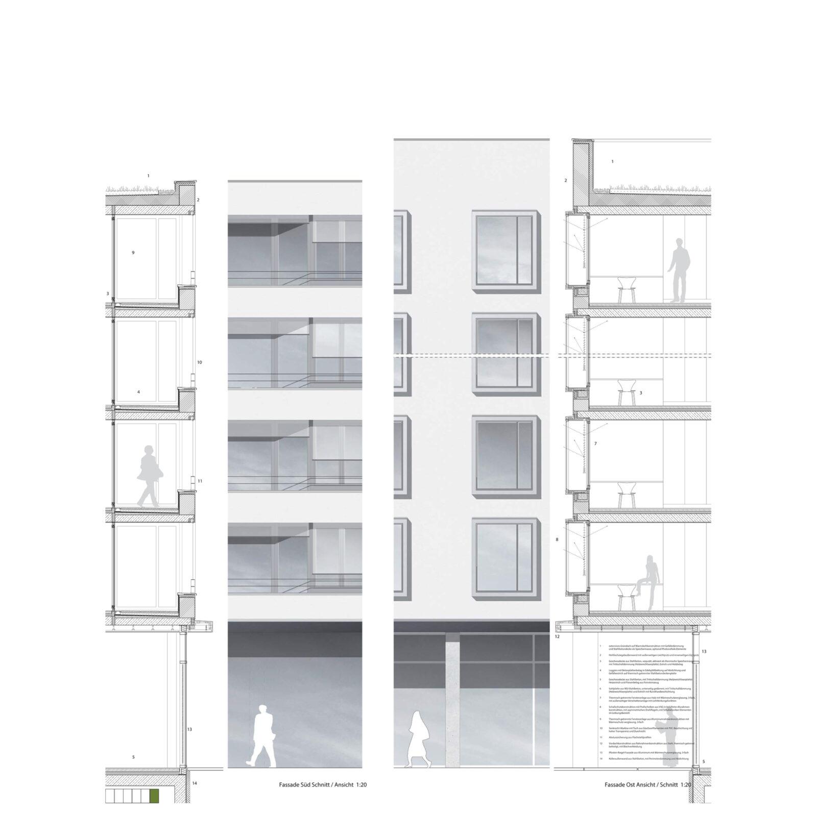 Fassadenschnitt / - Detail