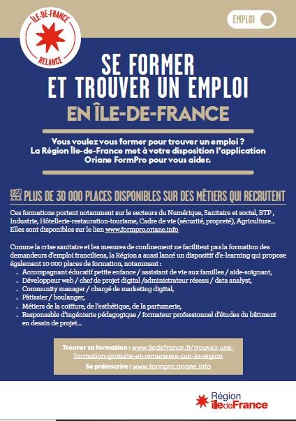 Se former et trouver un emploi en Ile-de-France