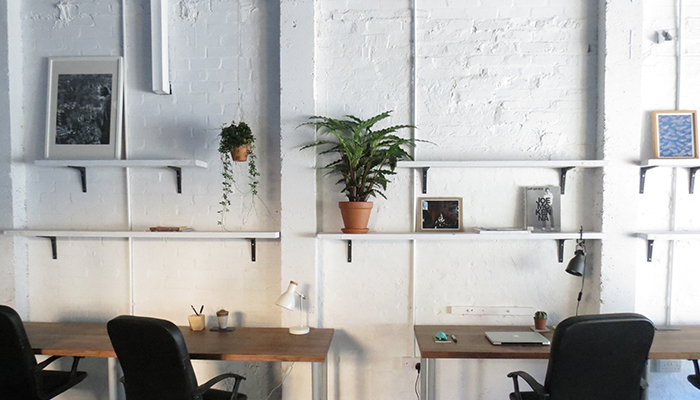 Desks in a shared office